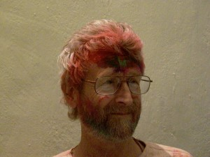Dick Jeffrey with his holi makeover